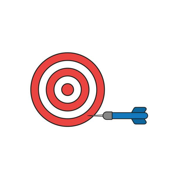 Flache Design-Stil Vektor-Konzept von Bullseye mit Dart-Symbol in der Seite auf weiß. Farbige, schwarze Umrisse. – Vektorgrafik