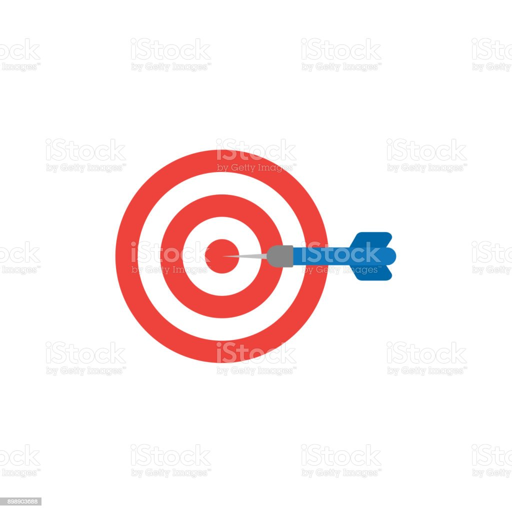 Flat design style vector concept of bullseye with dart icon in the center on white vector art illustration