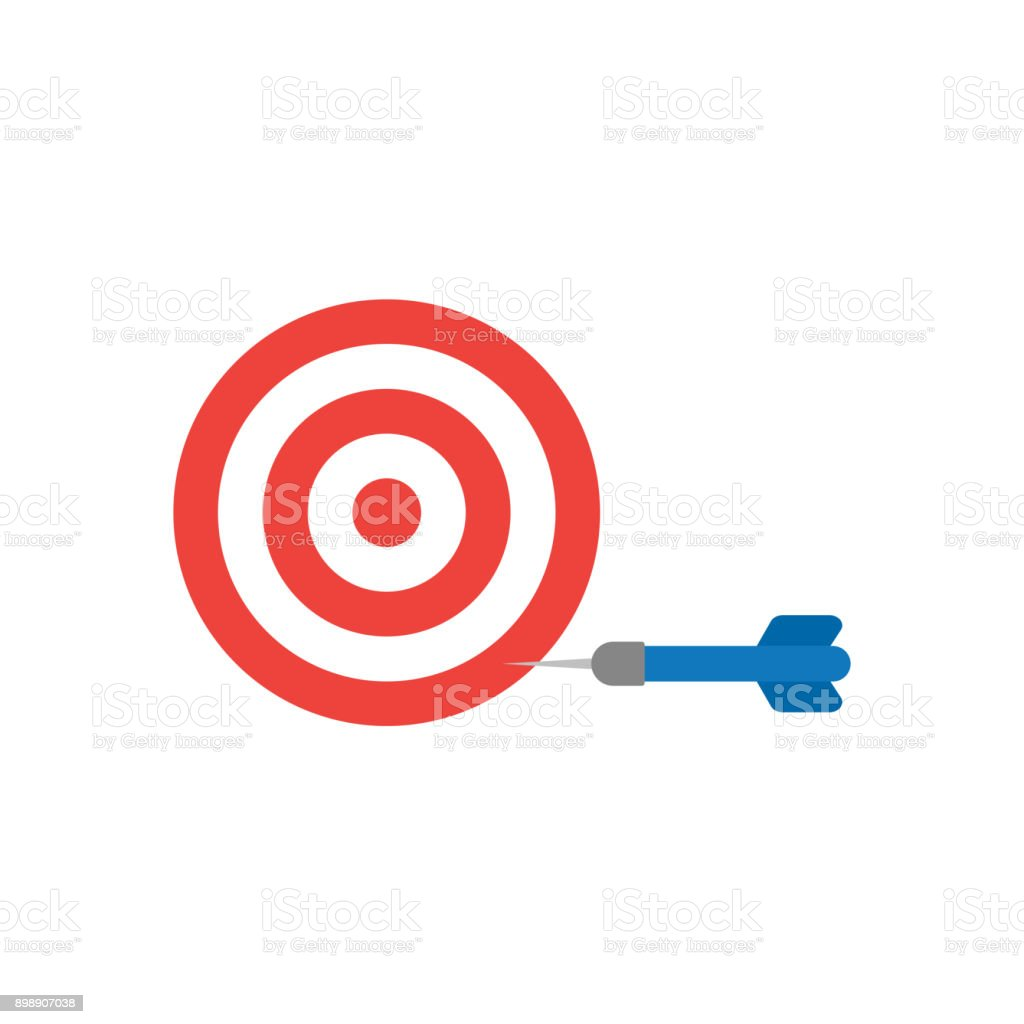 Flat design style vector concept of bullseye with dart icon in the side on white vector art illustration