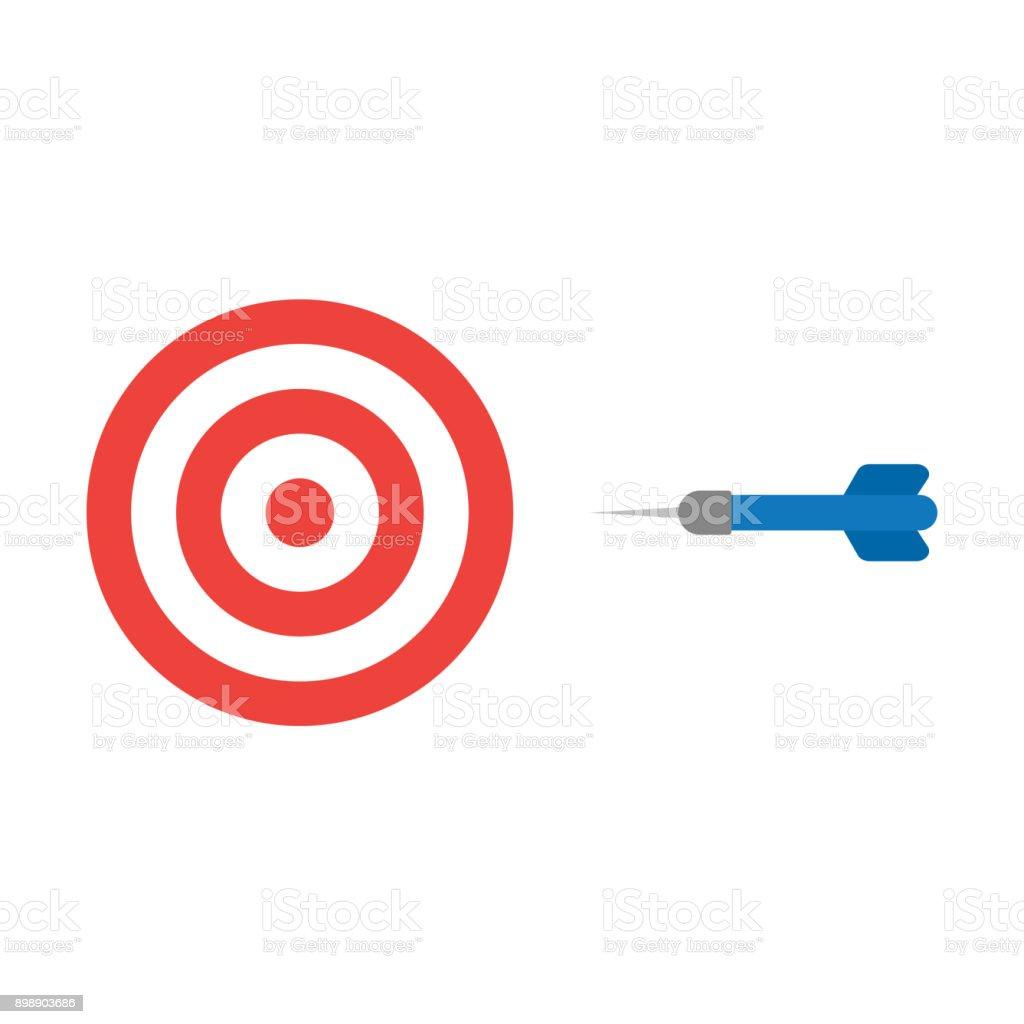 Flat design style vector concept of bullseye with dart icon on white vector art illustration