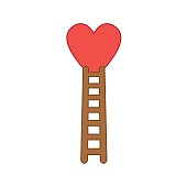 Flat design style vector concept of climb to heart with wooden ladder icon on white. Colored outlines.