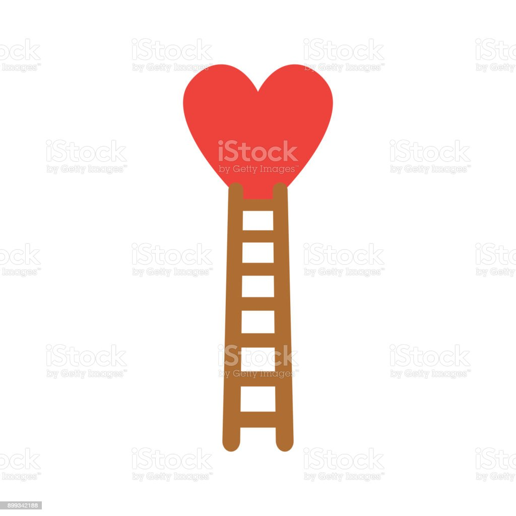 Flat design style vector concept of climb to heart with wooden ladder icon on white vector art illustration