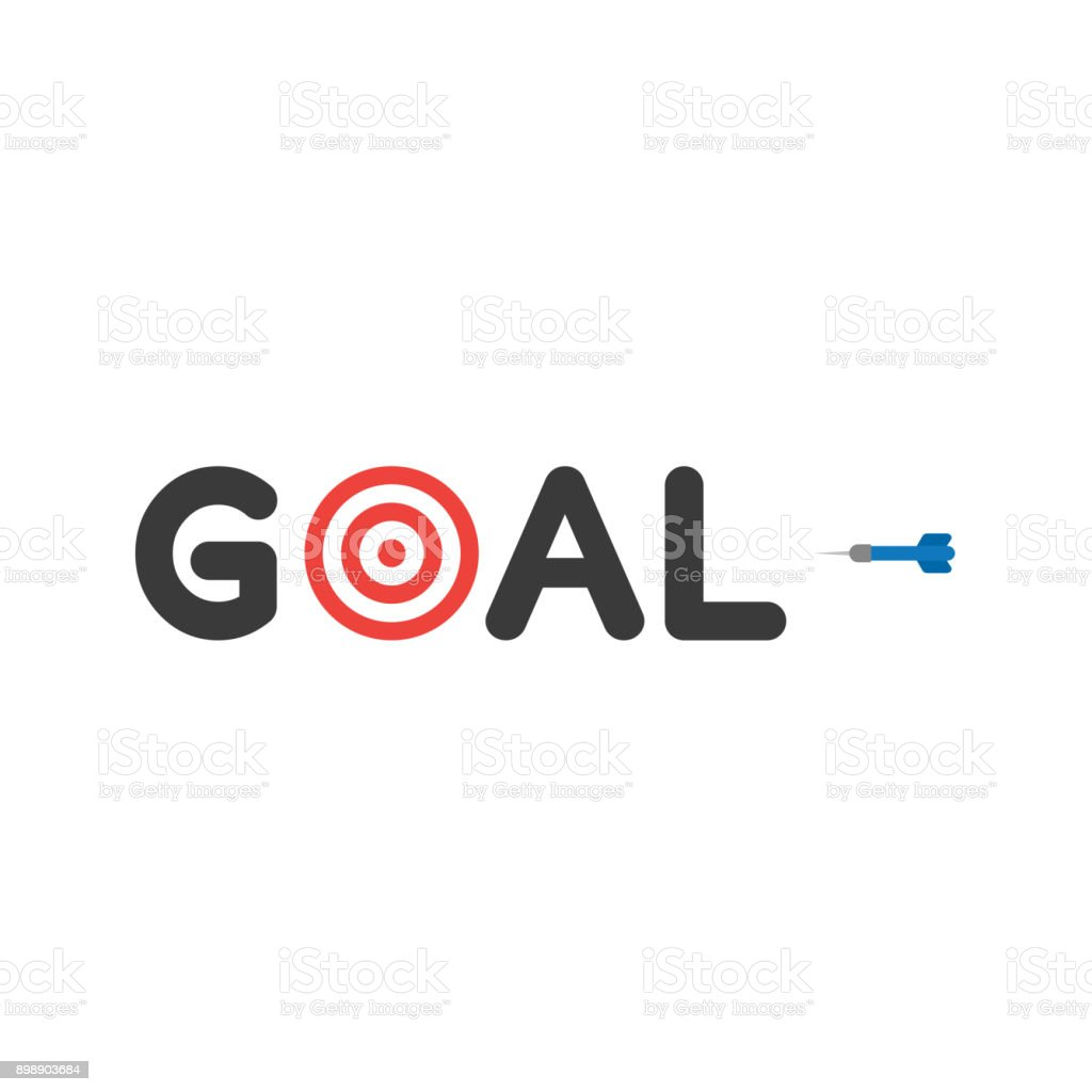 Flat design style vector concept of goal text with bulls eye and dart icon on white vector art illustration