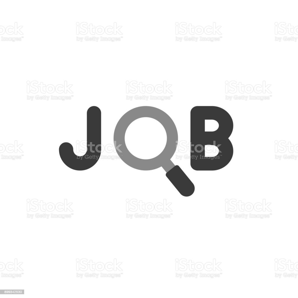 Flat design style vector concept of job text with magnifying glass or magnifier icon on white vector art illustration