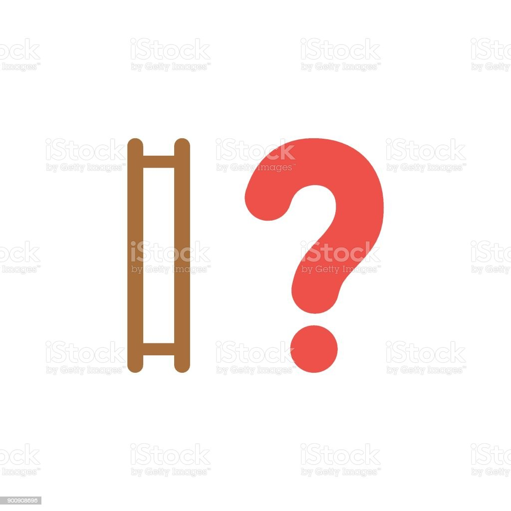 Flat design style vector concept of ladder without steps and question mark vector art illustration
