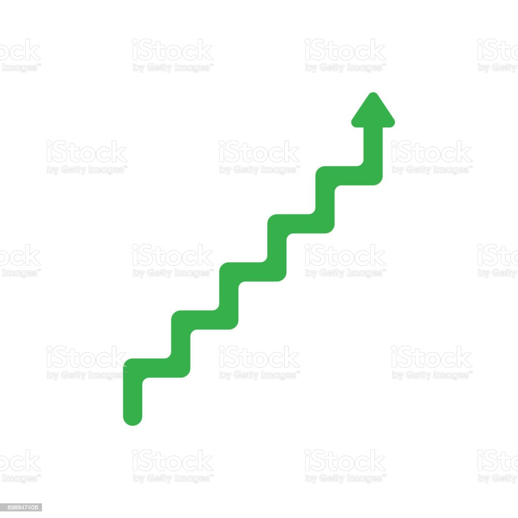 Flat design style vector concept of line stairs symbol icon with arrow pointing up on white vector art illustration