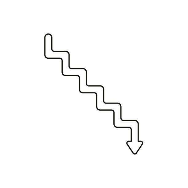 Flache Design-Stil Vektor-Konzept der Linie Treppen Symbol Symbol-Symbol mit Pfeil nach unten auf weiß zeigen. Schwarze Umrisse. – Vektorgrafik