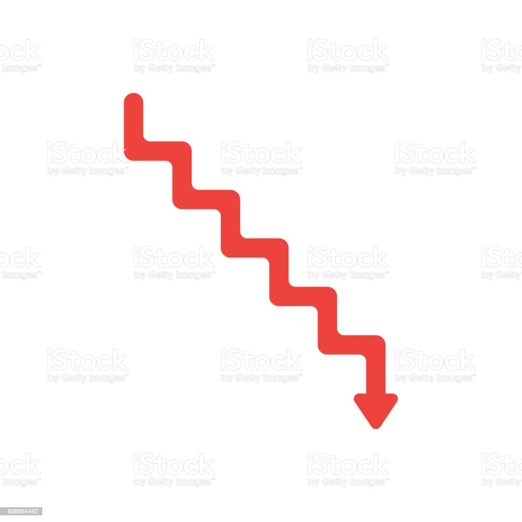 Flat design style vector concept of line stairs symbol icon with arrow pointing down on white vector art illustration