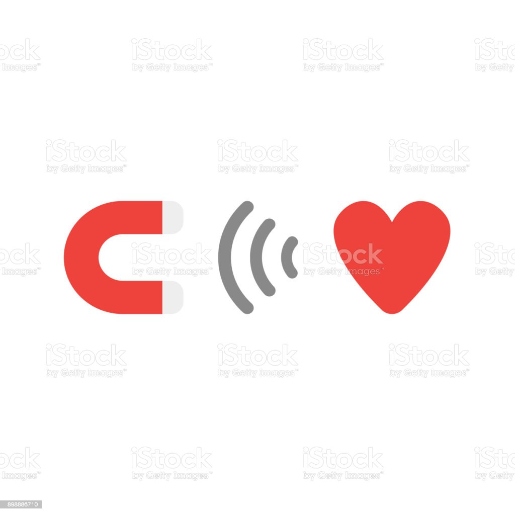 Flat design style vector concept of magnet attracting heart symbol icon on white vector art illustration