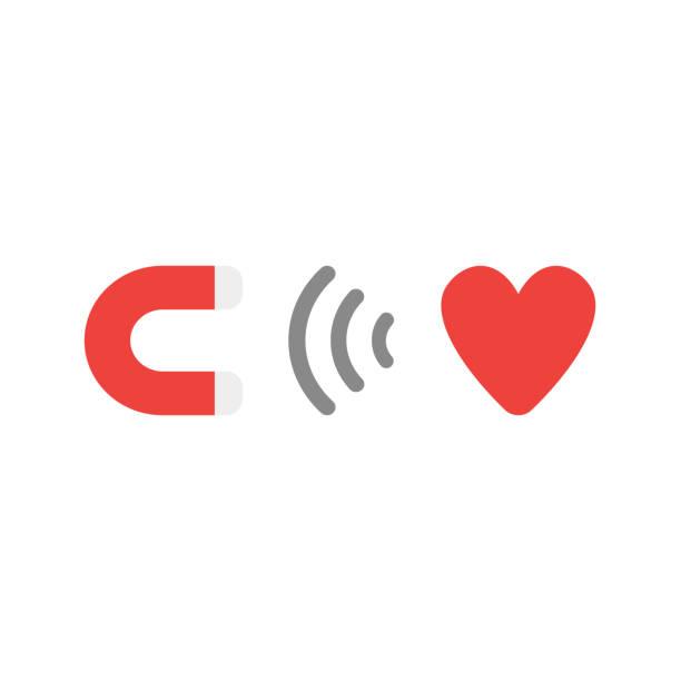 Flaches Design Style Vektor-Konzept der Magnet für Herz-Symbol-Symbol auf weißem – Vektorgrafik