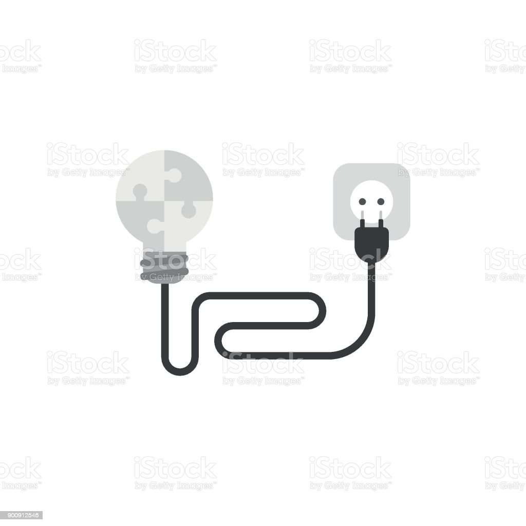 Flat design style vector concept of puzzle light bulb with cable, electrical plug and outlet vector art illustration