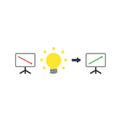 Flat design style vector concept of sales or value presentation bar chart with arrow moving down with idea light bulb and arrow moving up