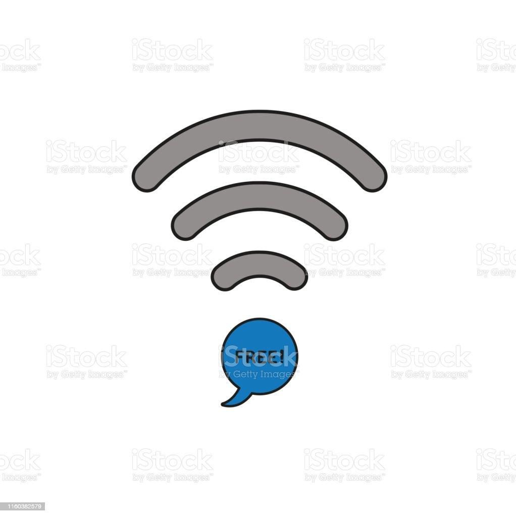 スピーチバブルアイコンと白のフリーテキストと無線lanシンボルの