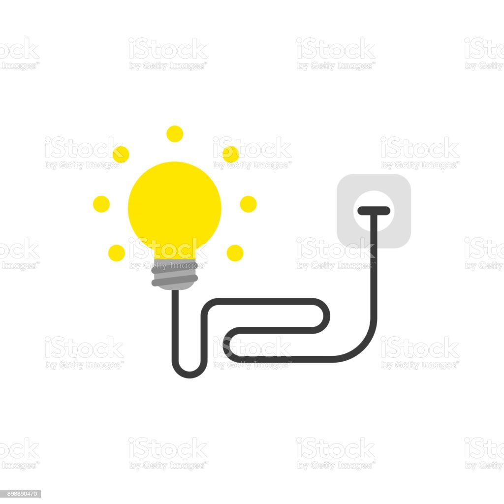 Flat design style vector concept of yellow light bulb with wire plugged into outlet on white vector art illustration