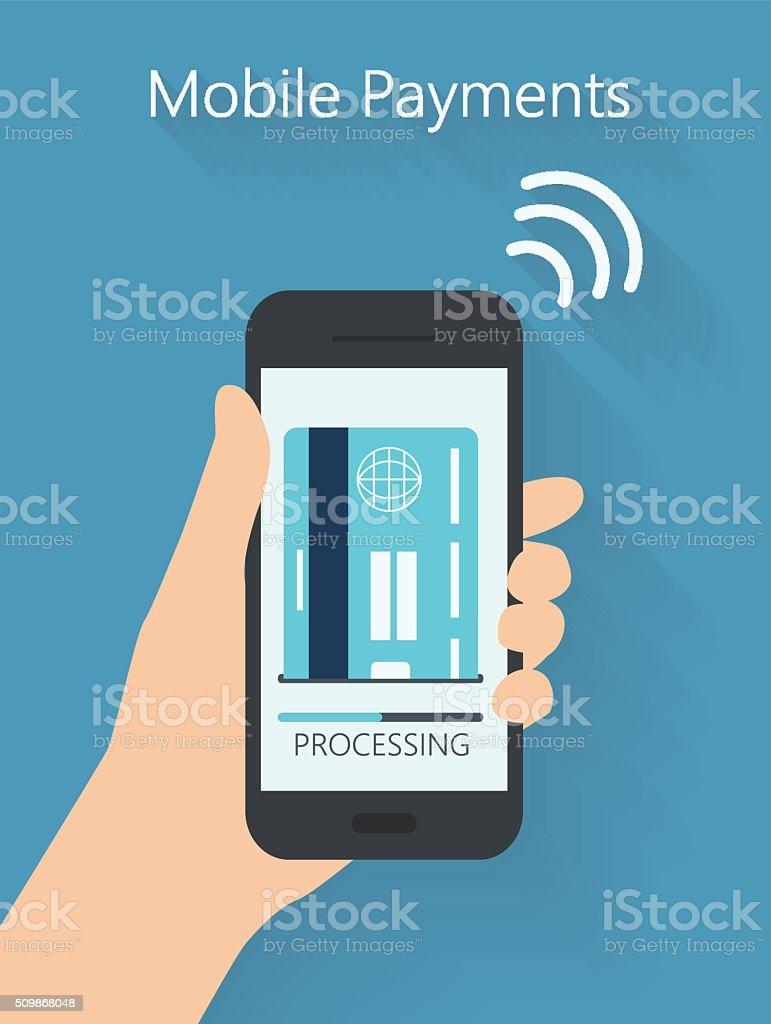 Flat design style vector illustration mobile payments vector art illustration