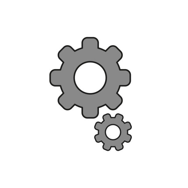 Flat design style vector of gears icon on white. Colored, black outlines. vector art illustration