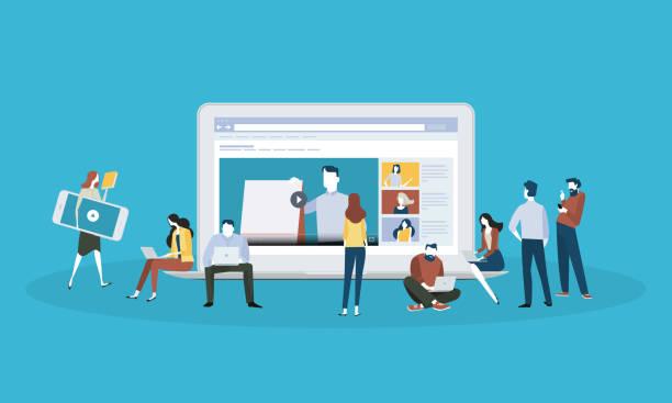 stockillustraties, clipart, cartoons en iconen met platte ontwerp stijl webbanner voor online onderwijs, video tutorials, on line training en cursussen - youtube