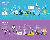 Vector illustration concepts for business plan, startup, design process, product development, creativity and innovation.