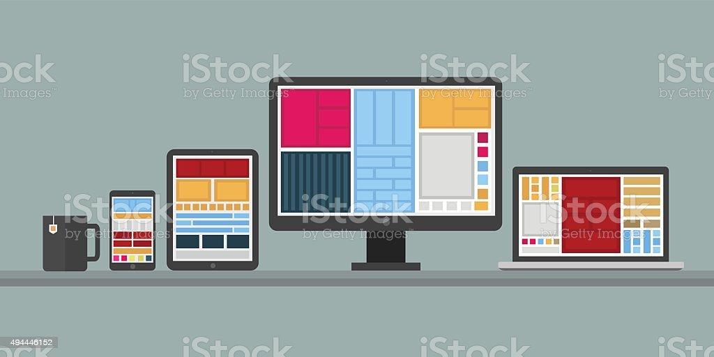 Flat design stylish vector illustration of designer desk with de vector art illustration