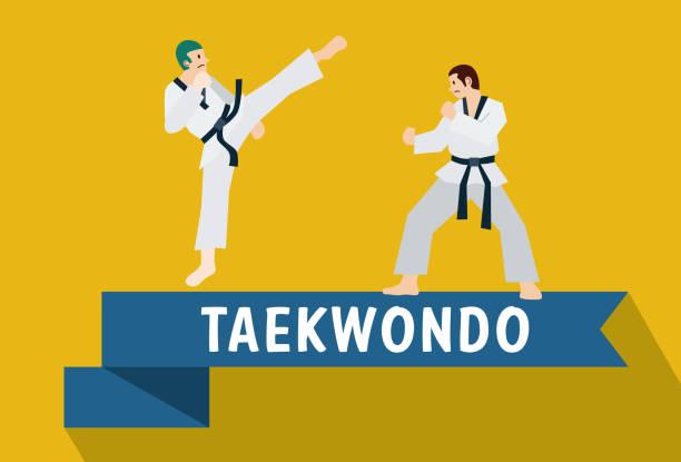 flat design, taekwondo, korean martial art - taekwondo stock illustrations, clip art, cartoons, & icons