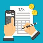 Flat design tax calculation illustration vector