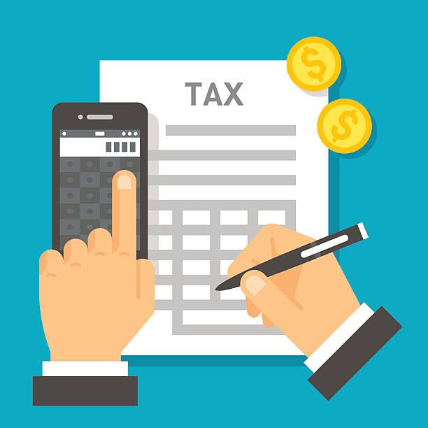 ilustraciones, imágenes clip art, dibujos animados e iconos de stock de diseño plano el cálculo de impuestos - taxes