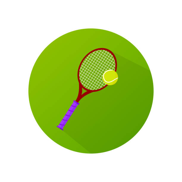 flache bauform tennisschläger mit kugel vektor icon. - wimbledon stock-grafiken, -clipart, -cartoons und -symbole