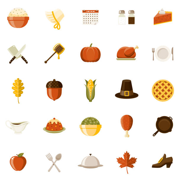 flat design thanksgiving icon set - thanksgiving turkey stock illustrations