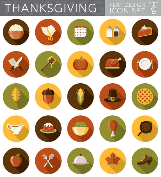 stockillustraties, clipart, cartoons en iconen met platte ontwerp thanksgiving pictogrammenset met kant schaduw - meat pan