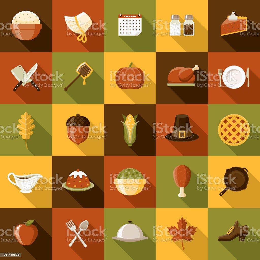 Flat Design Thanksgiving Icon Set with Side Shadow - Grafika wektorowa royalty-free (Bez ludzi)