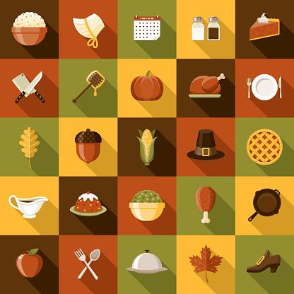 Flat Design Thanksgiving Icon Set With Side Shadow - Stockowe grafiki wektorowe i więcej obrazów Bez ludzi