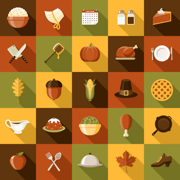 flat design thanksgiving icon set with side shadow - thanksgiving dinner stock illustrations