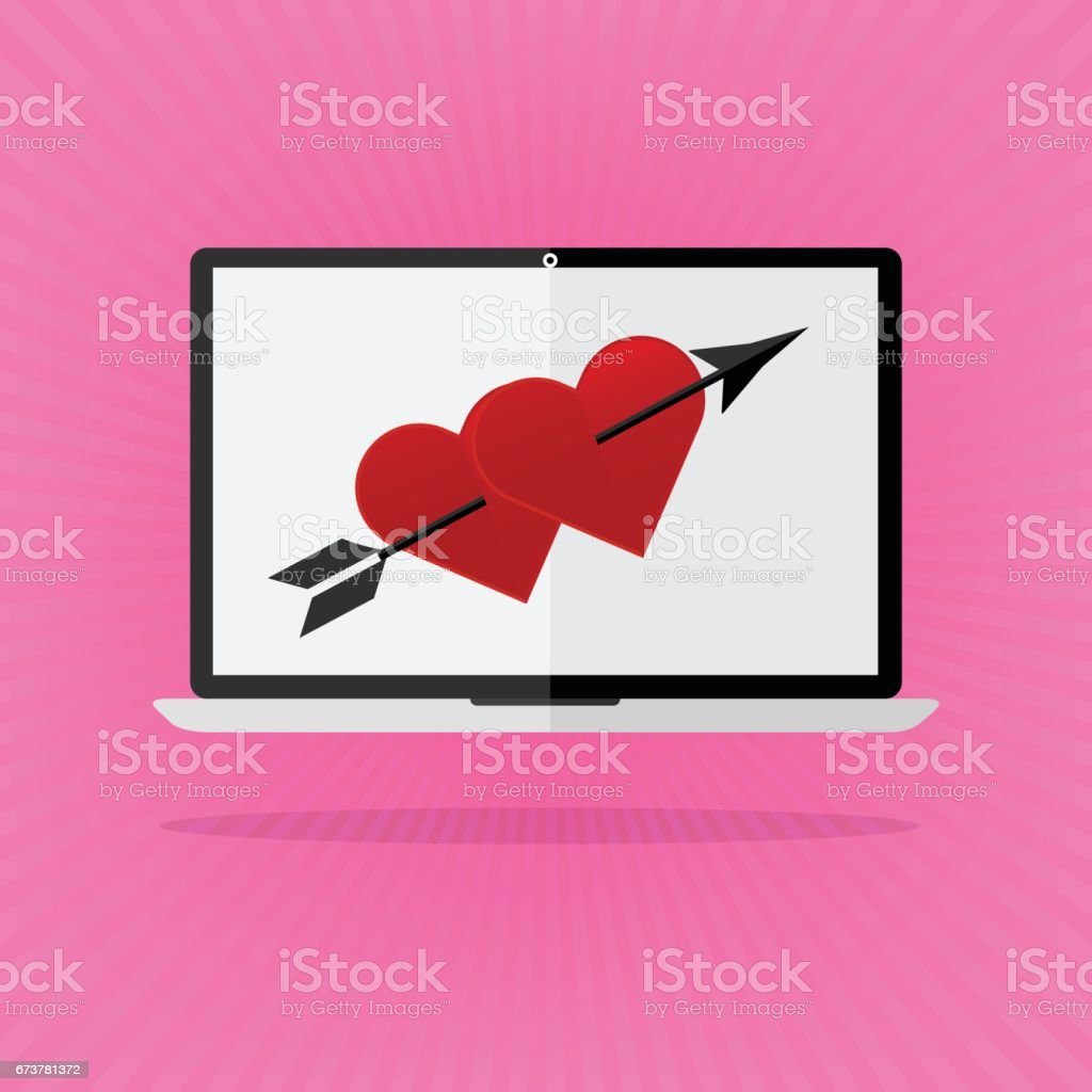 Flat design the red heart with arrow on laptop notebook love online dating on pink sunrays background. Valentines day I love you concept. vector art illustration