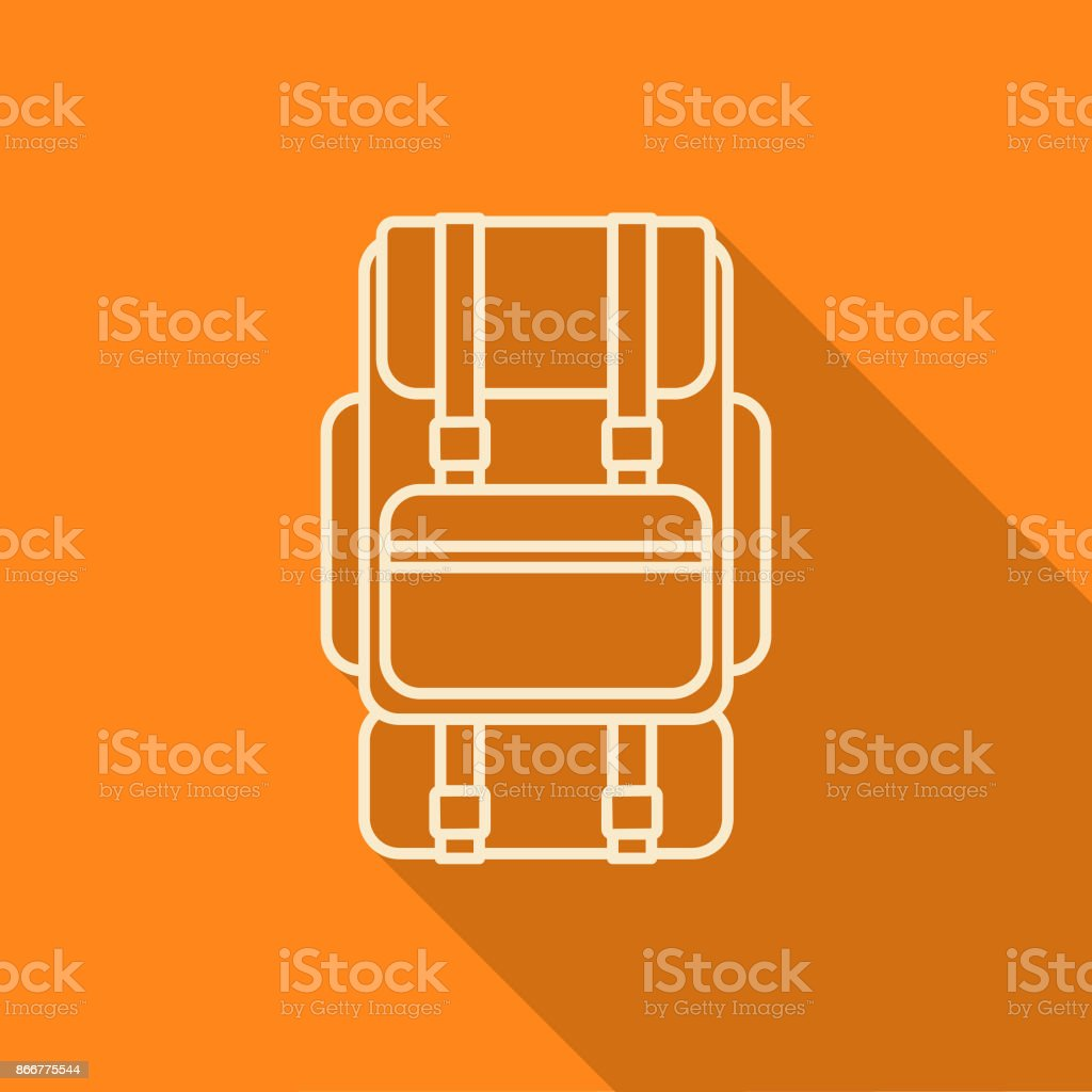 Flat Design Thin Line Camping Backpack Icon with Side Shadow vector art illustration