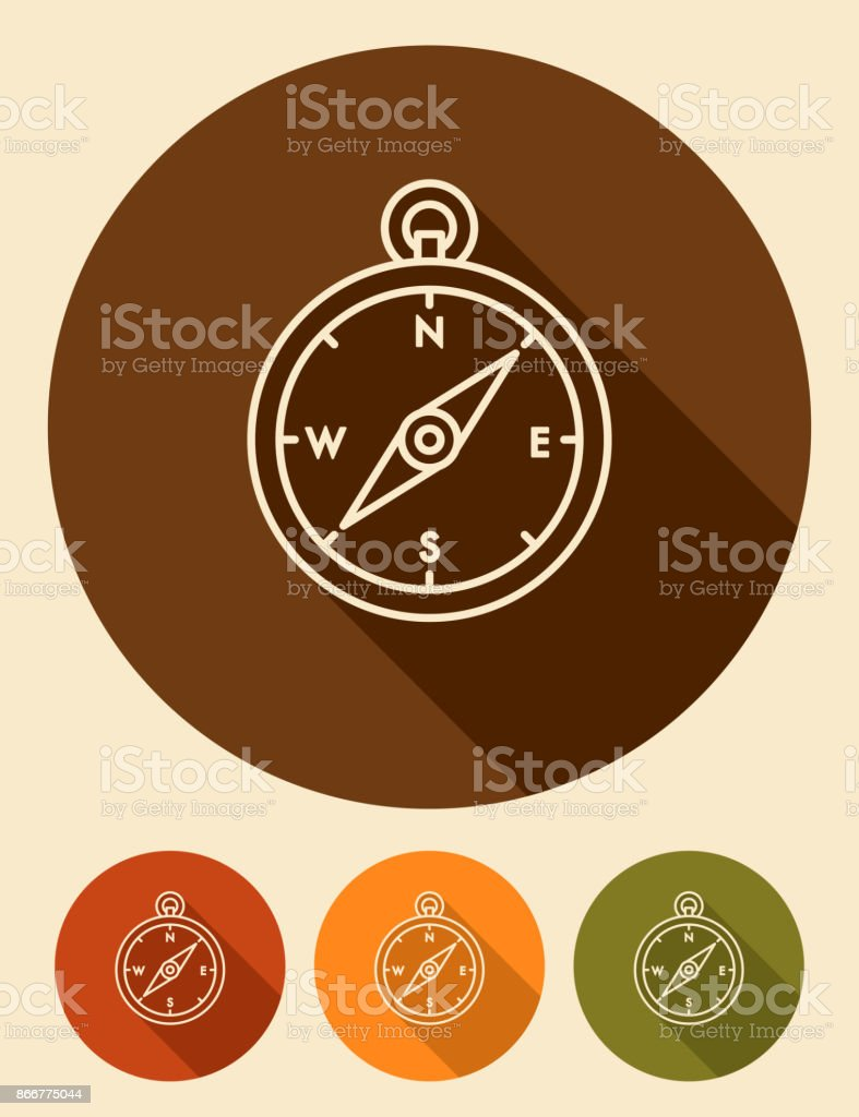 Flat Design Thin Line Camping Compass Icon with Side Shadow vector art illustration