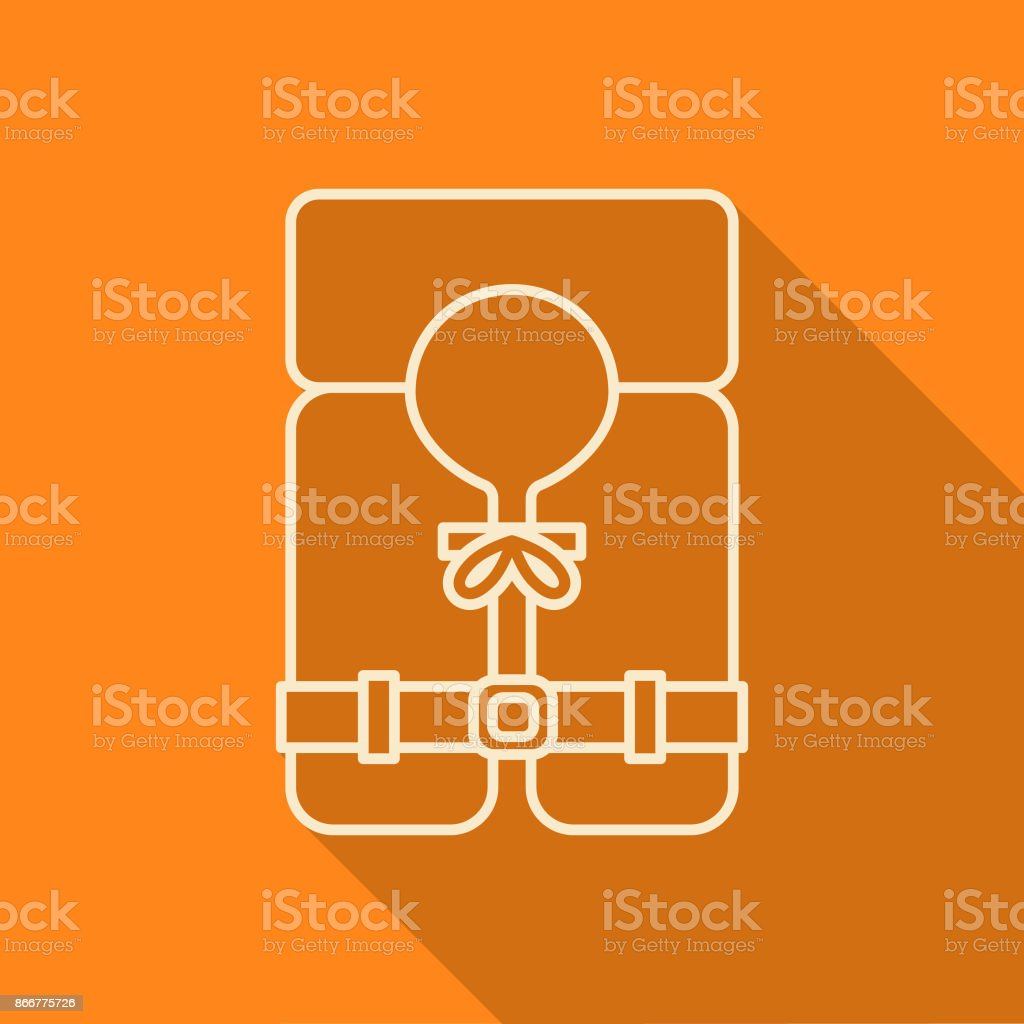 Flat Design Thin Line Camping Life Jacket Icon with Side Shadow vector art illustration