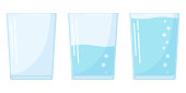 Flat design three water glass icon set in cartoon style isolated on white background. Full, half and empty soda glass vector illustration. Liquid water business concept.