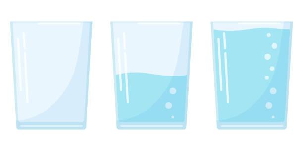 ilustrações, clipart, desenhos animados e ícones de ícone plano do vidro de água do projeto três ajustado no estilo dos desenhos animados isolado no fundo branco, cheio, meio e vidro de soda vazio. - water