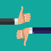 Flat Design Thumbs Up and Down Background . Vector Illustration