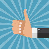 Flat Design Thumbs Up Background . Vector Illustration