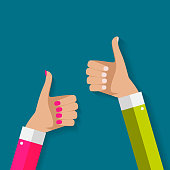 Flat Design Thumbs Up Background . Vector Illustration