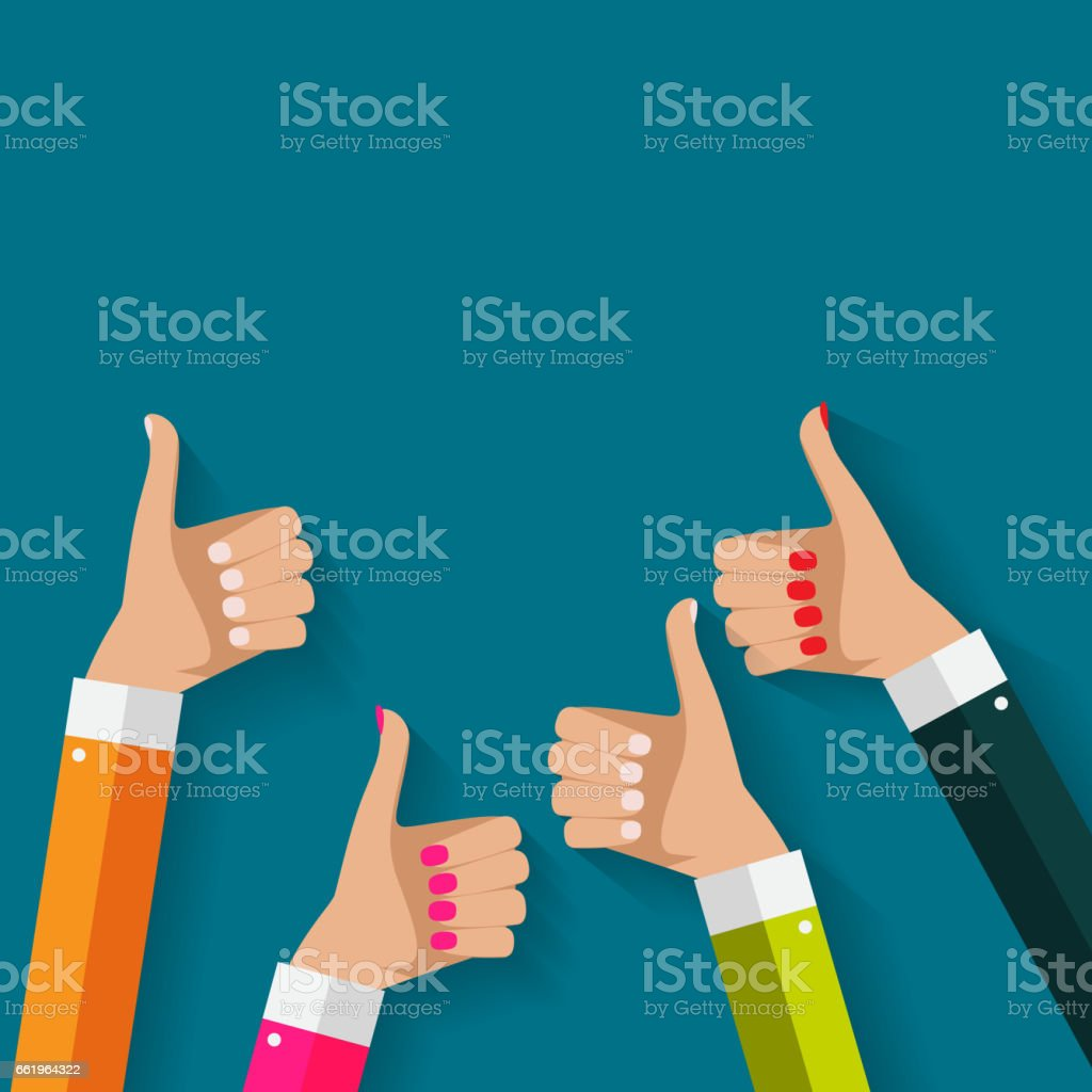 Flat Design Thumbs Up Background . Vector Illustration royalty-free flat design thumbs up background vector illustration stock illustration - download image now