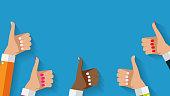 istock Flat Design Thumbs Up Background . Vector Illustration 839990140