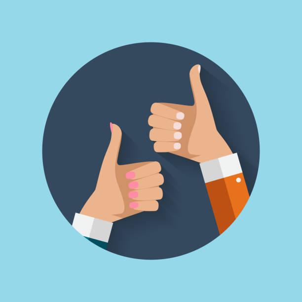 flat design thumbs up icon background . vector illustration - kciuk stock illustrations