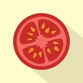 Flat Design Tomato Icon Vector Illustration