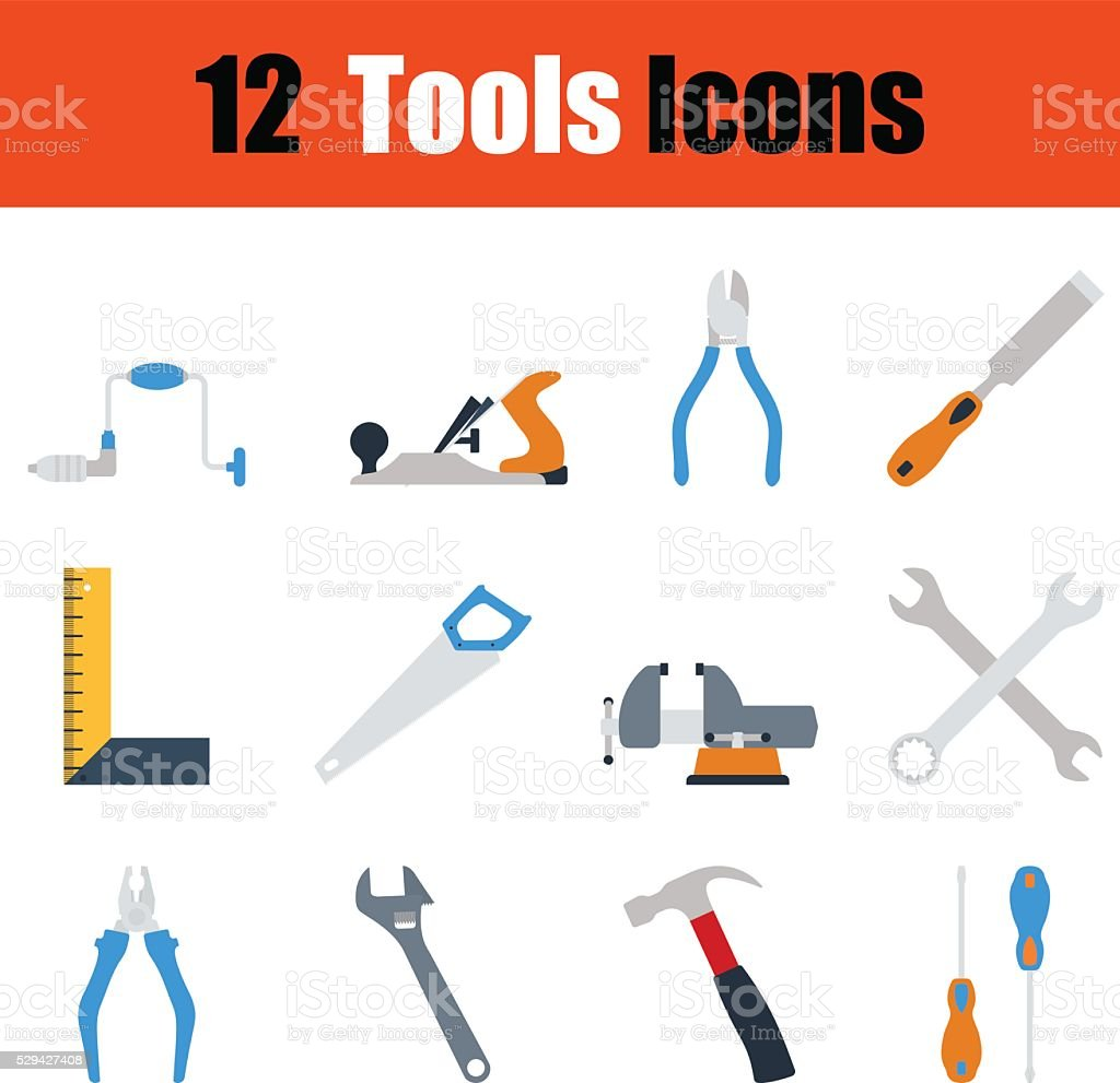 Flat design tools icon set vector art illustration