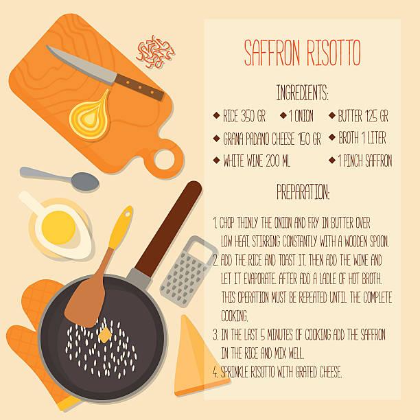 flache design der traditionellen italienischen küche rezept. - risotto stock-grafiken, -clipart, -cartoons und -symbole