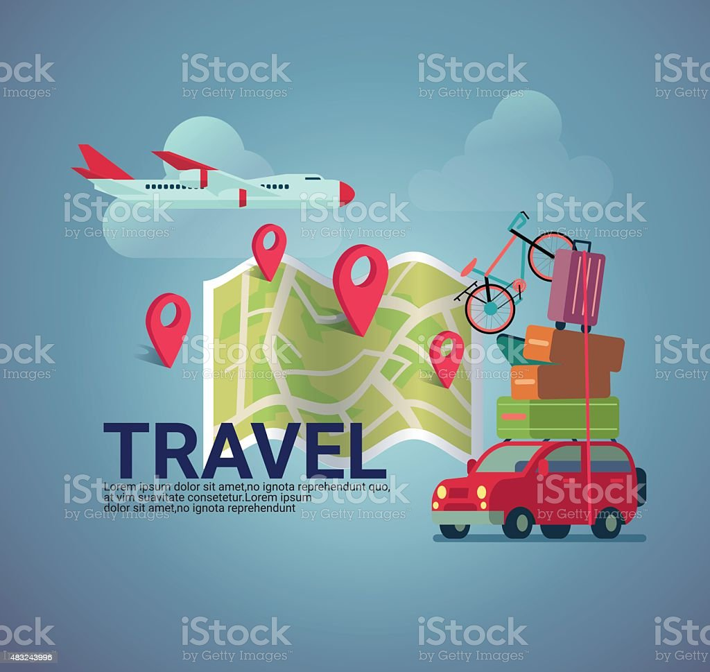 flat design travel  banner background vector illustration vector art illustration