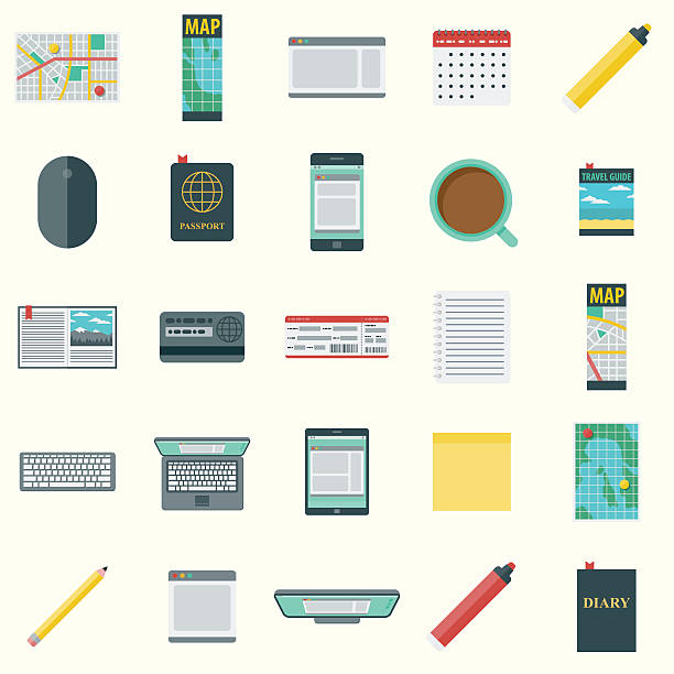 flache gestaltung vektor-symbol-set reiseplanung - forschungsurlaub stock-grafiken, -clipart, -cartoons und -symbole
