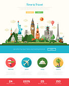 Time to travel one page traveling website template layout with thin line design header, banner, icons and other flat design web elements - world famous landmarks collection
